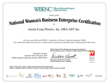 AFP WBENC WBE Certificate