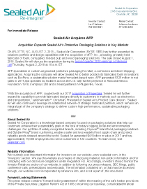 Sealed Air Acquires AFP